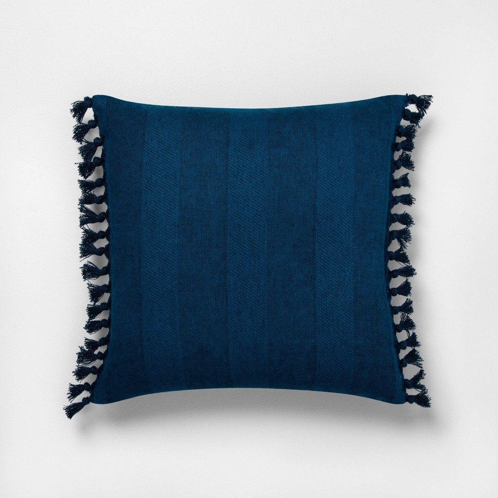 Image of 18x18 Knotted Fringe Throw Pillow Wide Stripe Navy - Hearth & Hand with Magnolia