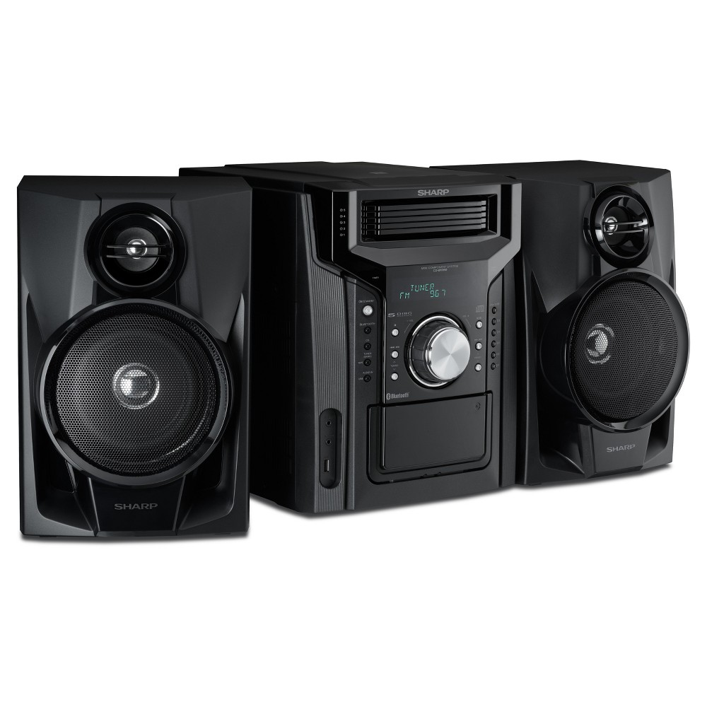 Sharp 5-Disc Mini Shelf Speaker System with Cassette Player, Bluetooth, and Usb Port for MP3 Playback - Black (CD-BH950) Play all your favorite tunes on this 5-Disc Mini Shelf Speaker System from Sharp that boasts variety of entertainment options. This system features AM/FM stereo, 5-CD changer, CD player and Bluetooth. It supports MP3 and Wma file formats and comes with a remote control that enables you to operate it from a distance. Treat yourself to the ultimate feel-good music experience with this gorgeous and feature-packed system. Color: Black.