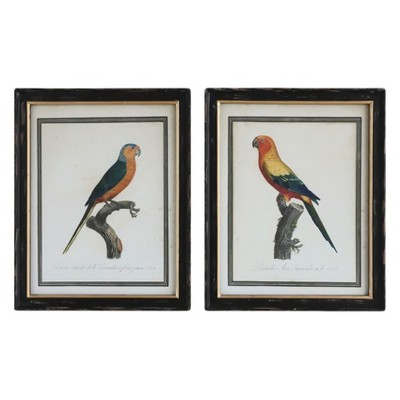 Vintage Parrot Wood Wall Prints White/Black 28 x22  2pk - 3R Studios