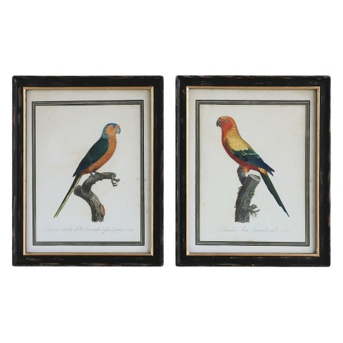 "Vintage Parrot Wood Wall Prints White/Black 28""x22"" 2pk - 3R Studios - image 1 of 1"