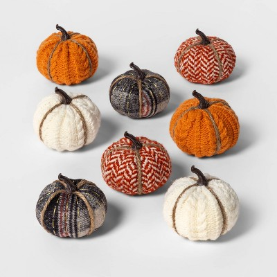 8ct Mini Fabric Pumpkins Halloween Decoration Patterned - Spritz™