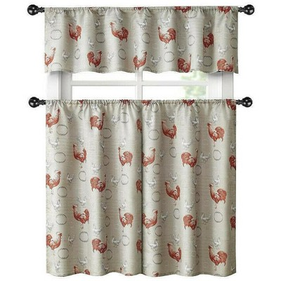 Kate Aurora Living Country Farmhouse Red Rooster Barn 3 Piece Kitchen Curtain Tier & Valance Set - 56 in. W x 15 in. L