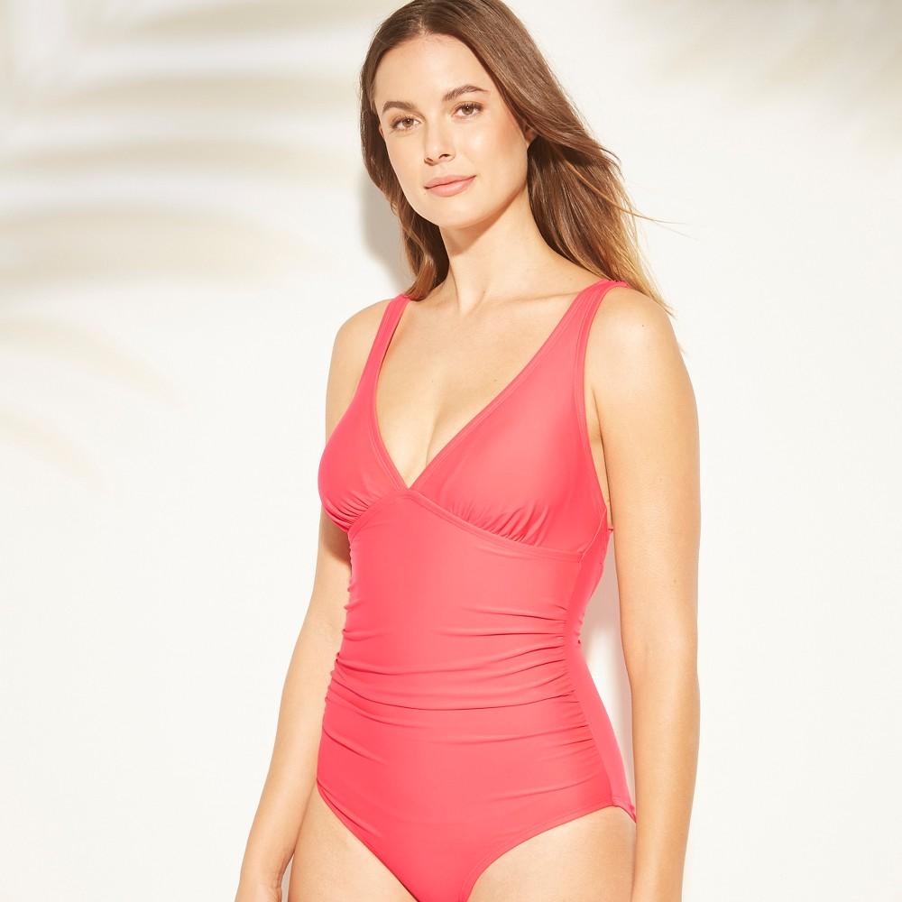 Women's Tall/Long Torso Strappy Back One Piece Swimsuit - Kona Sol Blazing Coral M