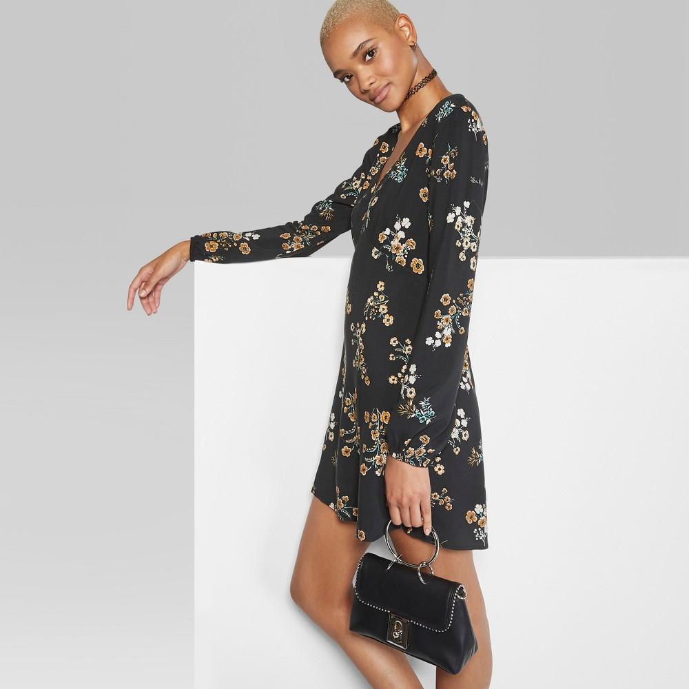 Women's Floral Print Long Sleeve V-Neck Woven Dress - Wild Fable Black L