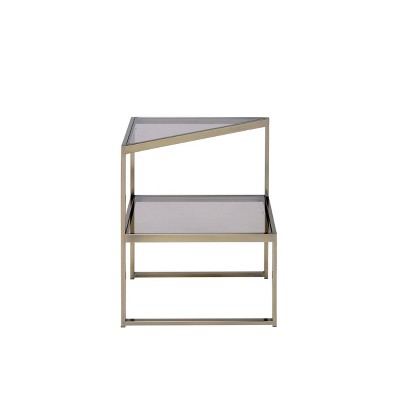 Modern Style Two Tiered Metal and Glass End Table Gold/Clear - Benzara