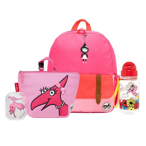 Zip   Zoe Junior Kids  Backpack with Lunch Bag and Water Bottle - Pink  Color Block Daisy Dragon c0a271211c