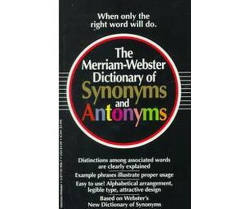 Merriam-Webster Dictionary of Synonyms and Antonyms (Paperback) - image 1 of 1