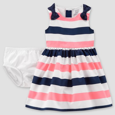 Baby Girls' Stripe Dress - Just One You® made by carter's Pink/Navy NB
