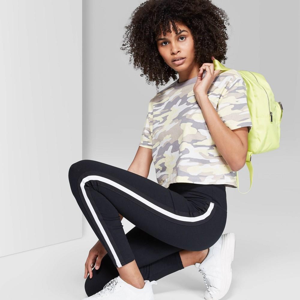 Women's Camo Print Short Sleeve Crew Neck Boxy T-Shirt - Wild Fable Gray L, Yellow