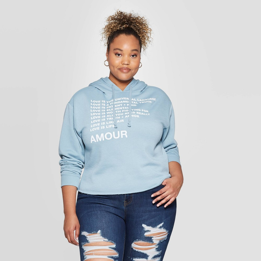 Image of Women's Amour Plus Size Graphic Cropped Sweatshirt (Juniors') - Light Blue 1X, Women's, Size: 1XL