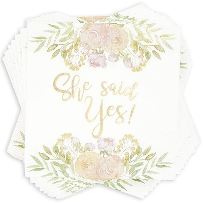 """Sparkle and Bash 50-Pack  """"She Said Yes"""" White Disposable Engagement Paper Napkin 5 x 5 In Party Supplies"""