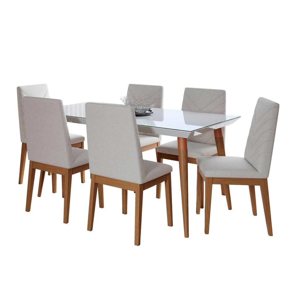 62.99 7pc Utopia and Catherine Dining Set Gloss White/Beige - Manhattan Comfort