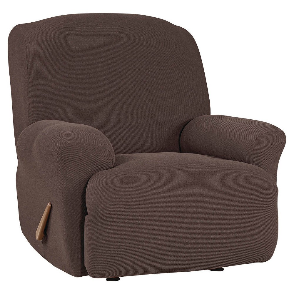 Image of Stretch Twill Recliner Slipcover Chocolate - Sure Fit