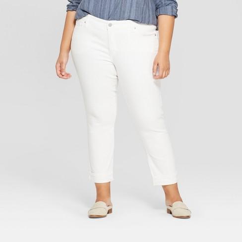 Women's Plus Size Cuffed Hem Skinny Crop Jeans - Universal Thread™ White - image 1 of 3