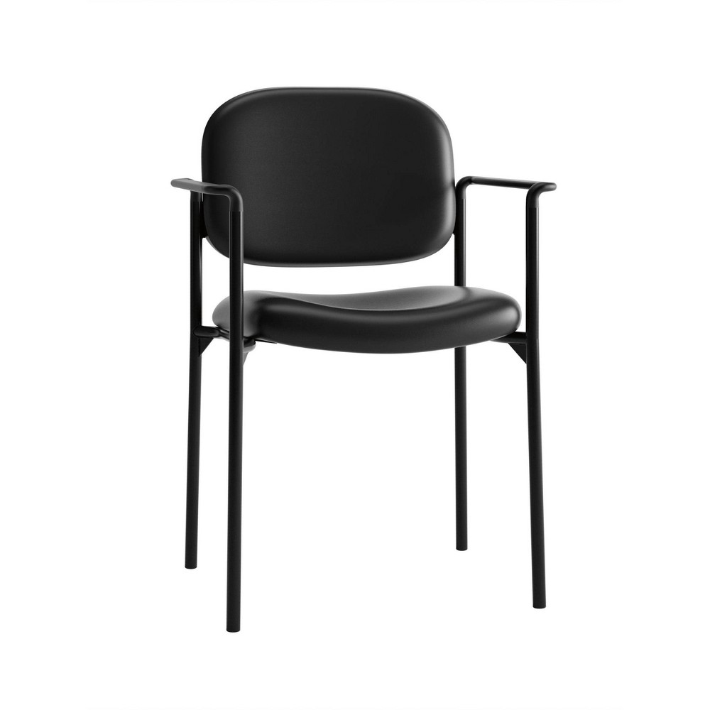 Image of Scatter Stacking Softhread Leather Guest Chair Black - HON
