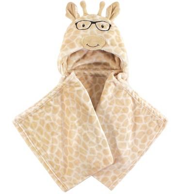 Hudson Baby Infant Hooded Animal Face Plush Blanket, Nerdy Giraffe, One Size