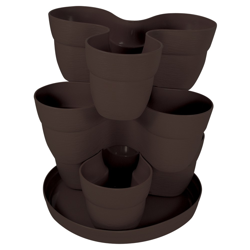 Image of 5 Bloomers 3 Tier Flower Tower - Brown - Emsco