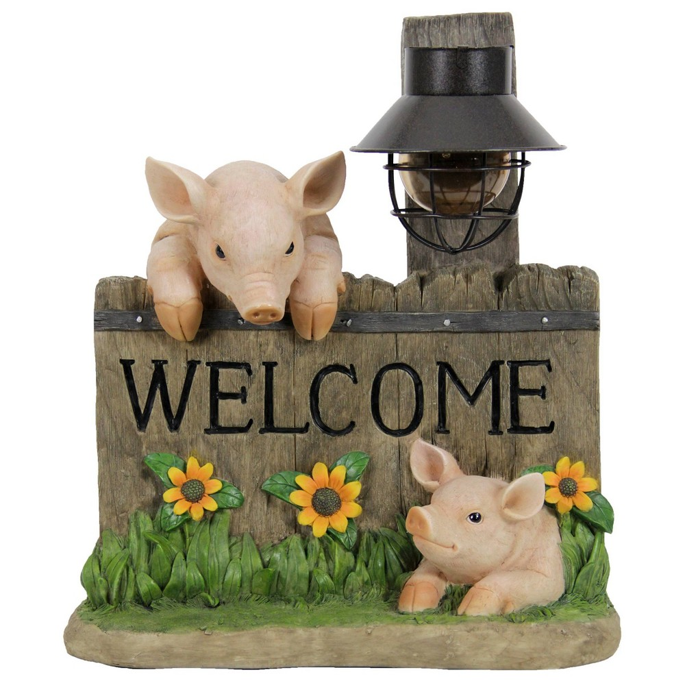 Coupons Resin Solar Pig Welcome Sign Statue Pink - Exhart