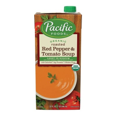 Pacific Foods Organic Gluten Free Low Sodium Roasted Red Pepper & Tomato Soup - 32oz
