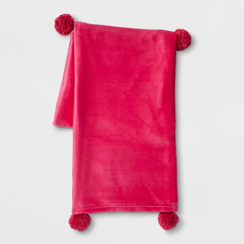 Solid Plush With Poms Throw Blanket Room Essentials