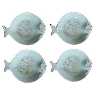 Fish Ceramic Dish 4.53  Blue Set of 4 - 3R Studios