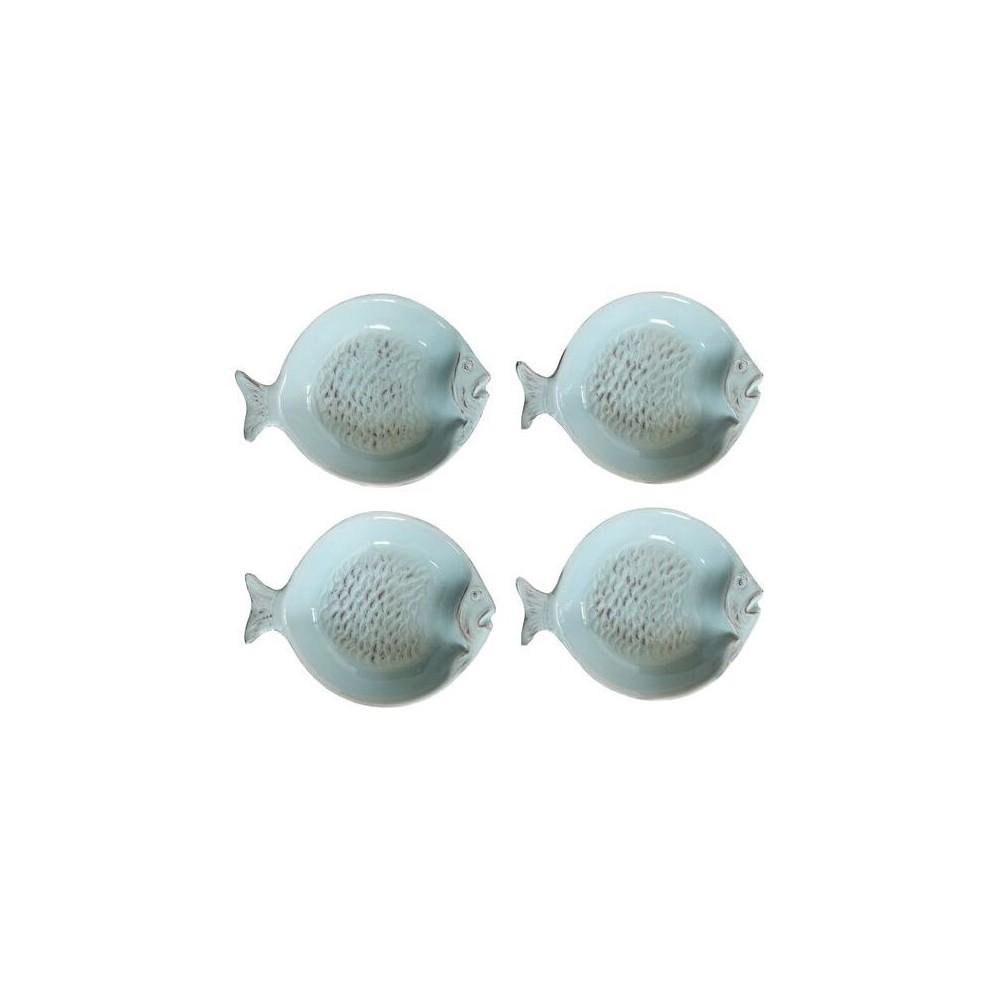 """Image of """"Fish Ceramic Dish 4.53"""""""" Blue Set of 4 - 3R Studios"""""""