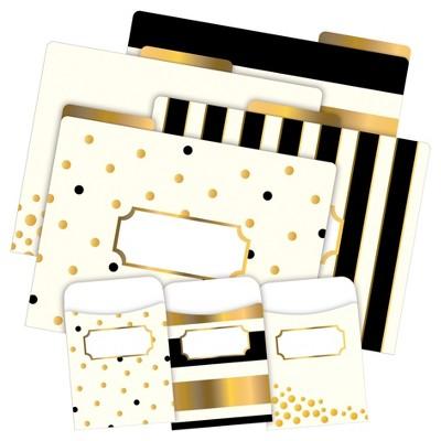 Barker Creek 12 Letter-Size File Folders & 30 Adhesive Pockets Set - Gold