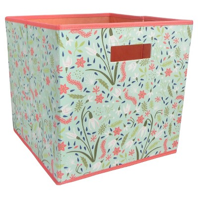 Fabric Cube Storage Bin Aqua Floral - Pillowfort™