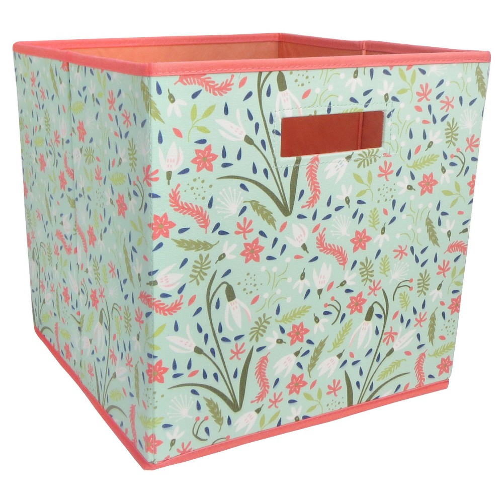 Fabric Cube Toy Storage Bin Aqua Floral - Pillowfort, Blue/Pink The Fabric Cube Storage Bin (13 x13 ) Mint and Cream from Pillowfort offers a stylish storage solution for clothing or small toys. It's perfect for a kids' room, home office, laundry room or craft room. Mix and match colors and prints for a creative look. Color: Aqua/Coral. Pattern: Floral.