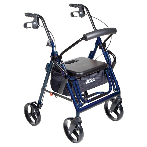 Drive Medical Duet Dual Function Transport Wheelchair Walker Rollator, Blue - image 1 of 4