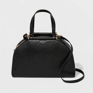 Zip Closure Satchel Handbag - A New Day™ Black