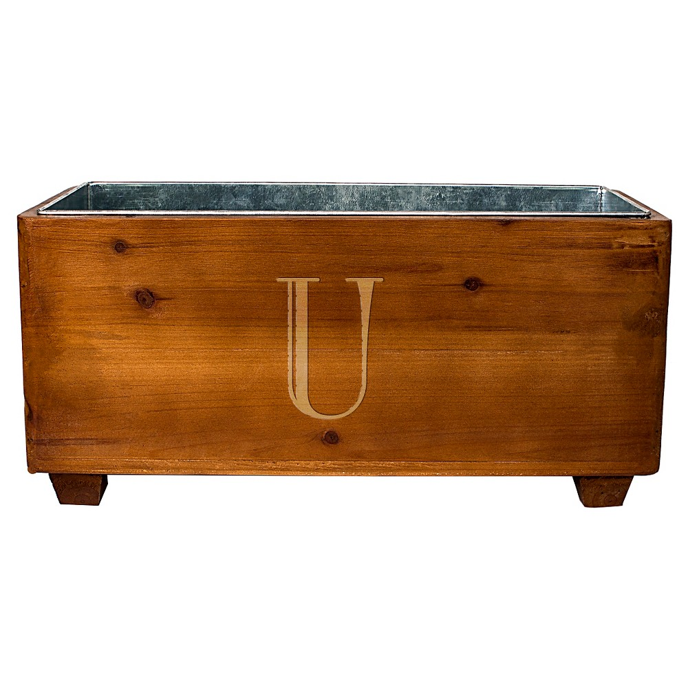 Cathy's Concepts Personalized Wooden Wine Trough - U, Brown