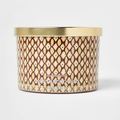 15oz Lidded Glass Jar Floral Geo Print 3-Wick Crisp Candied Apple Candle - Opalhouse™