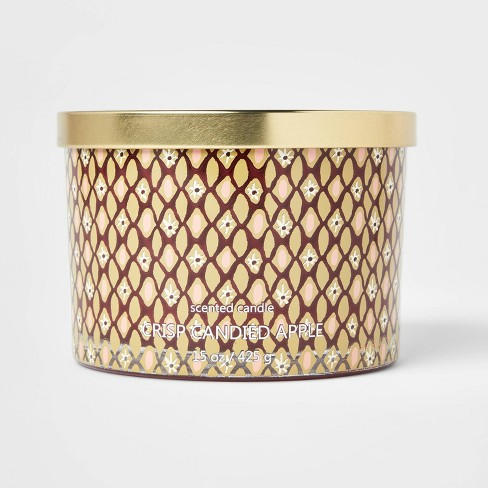 15oz Lidded Glass Jar Floral Geo Print 3-Wick Crisp Candied Apple Candle - Opalhouse™ - image 1 of 4
