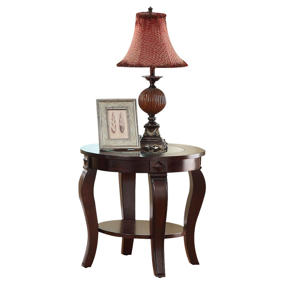 Riley End Table Walnut (Brown) and Glass Top - Acme