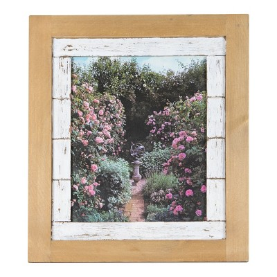 Distressed White Slatted 8x10 Inch Wood Decorative Picture Frame - Foreside Home & Garden