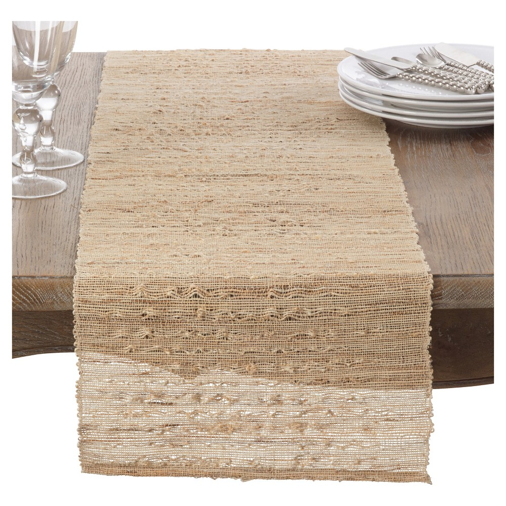 14 34 X90 34 Nubby Texture Woven Table Runner Light Brown Saro Lifestyle