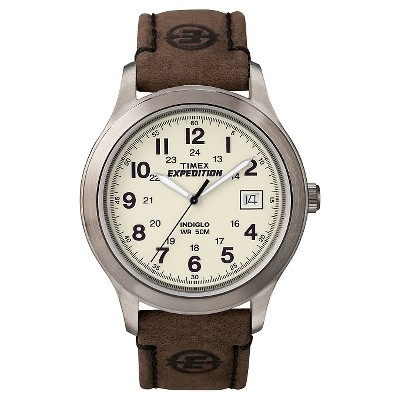 Men's Timex Expedition Field Watch with Leather Strap - Silver/Brown T49870JT