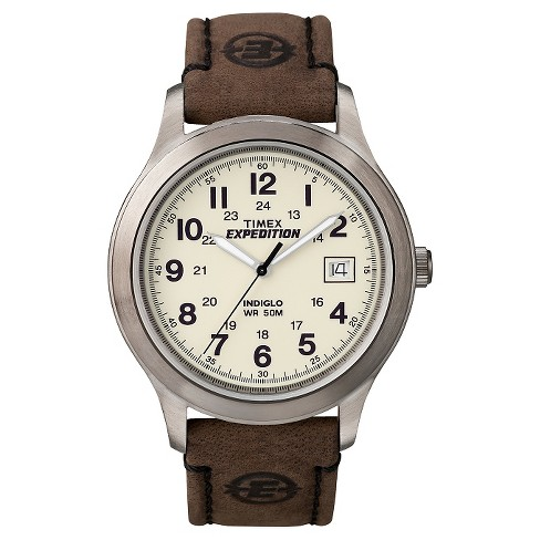 Men S Timex Expedition Field Watch With Leather Strap Silver Brown T49870jt