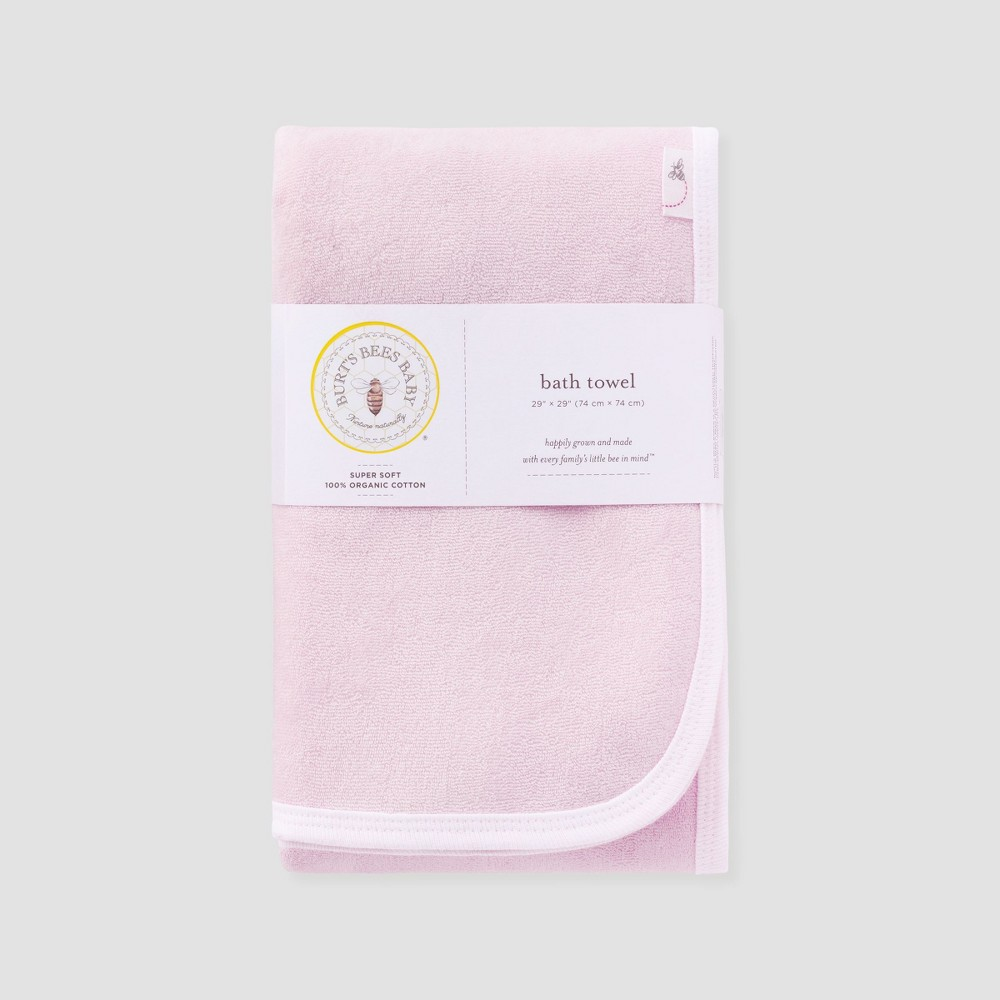 Image of Burt's Bees Baby Girls' Organic Cotton Single Ply Towel - Pink M
