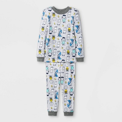 Toddler 2pc Peanuts Long Sleeve Snug Fit Pajama Set - Gray