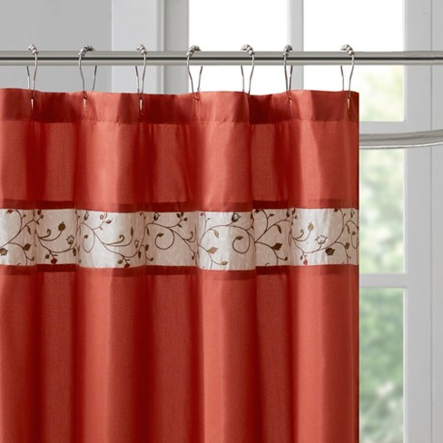 Monroe Embroidered Floral Shower Curtain Spice Target