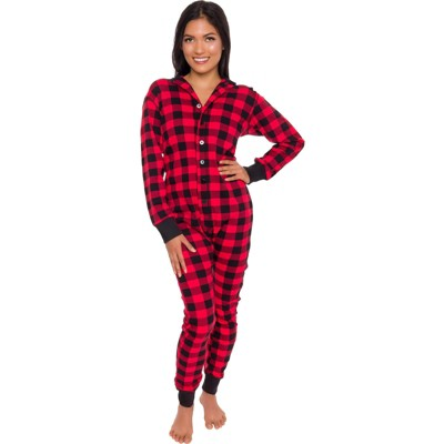 Silver Lilly - Slim Fit Women's Buffalo Plaid One Piece Pajama Union Suit with Butt Flap