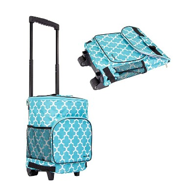 dbest products Ultra Compact Standard Insulated 36 Can Smart Cart Soft Sided Rolling Cooler with Wheels and Handle, Blue Moroccan Tile