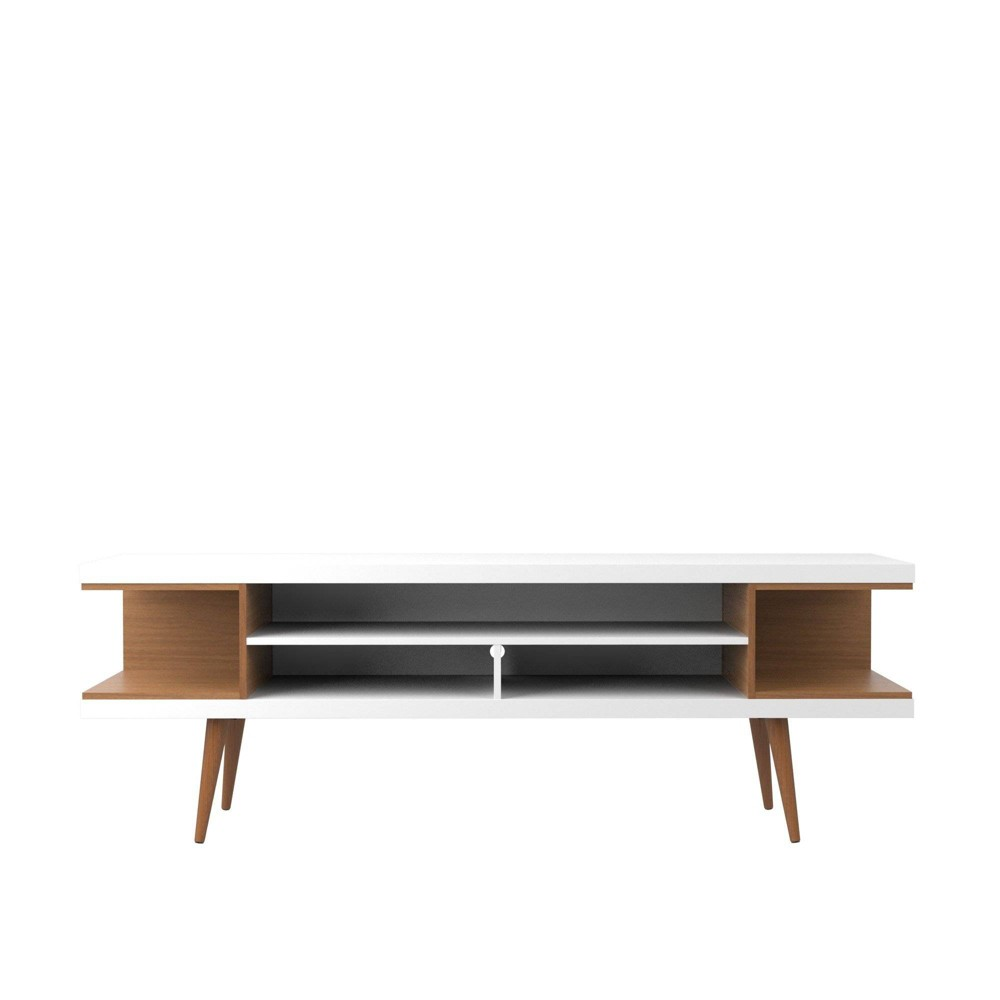 70.47 Utopia TV Stand with Splayed Wooden Legs and 4 Shelves Maple Cream/Gloss White - Manhattan Comfort