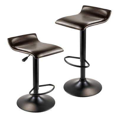 Set of 2 Paris Airlift Adjustable Swivel Stool with Faux Leather Seat and Black Metal Base Espresso/Black - Winsome
