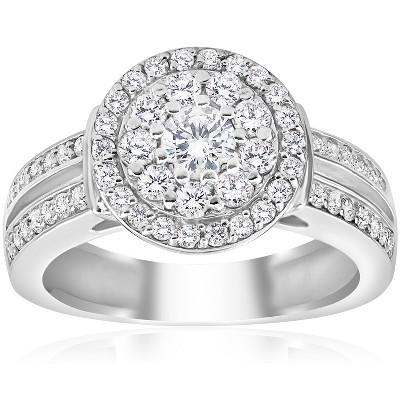 Pompeii3 1 cttw Diamond Double Halo Engagement Ring 10K White Gold