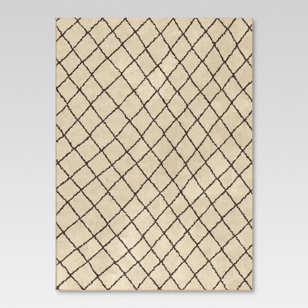 Criss Cross Fleece Area Rug - Cream (7'10