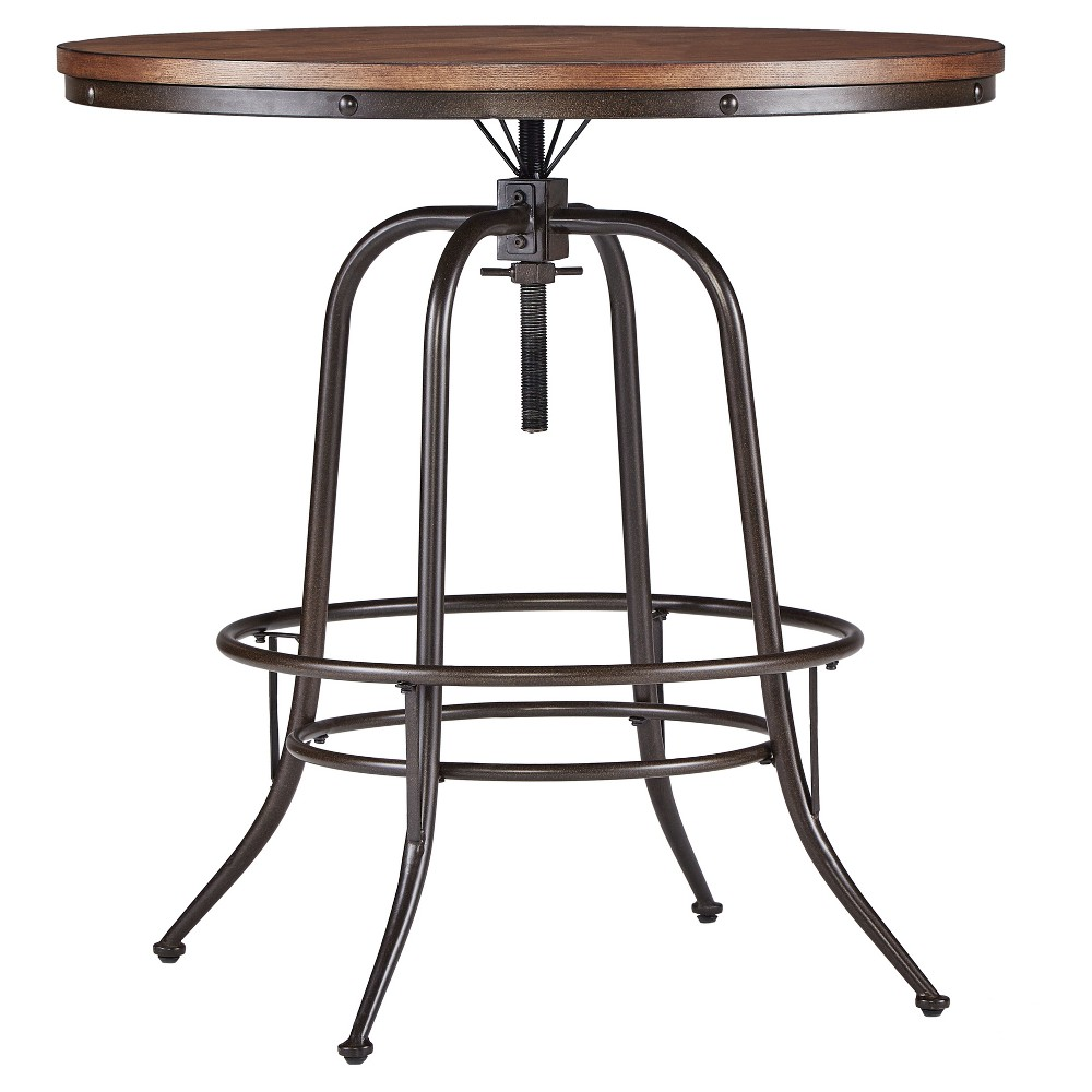 Mason Mixed Media Adjustable Counter Height Round Dining Table - Brown - Inspire Q