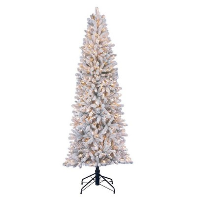 Home Heritage 7 Foot Frosted Alpine Quick Set Flocked Christmas Tree with Lights